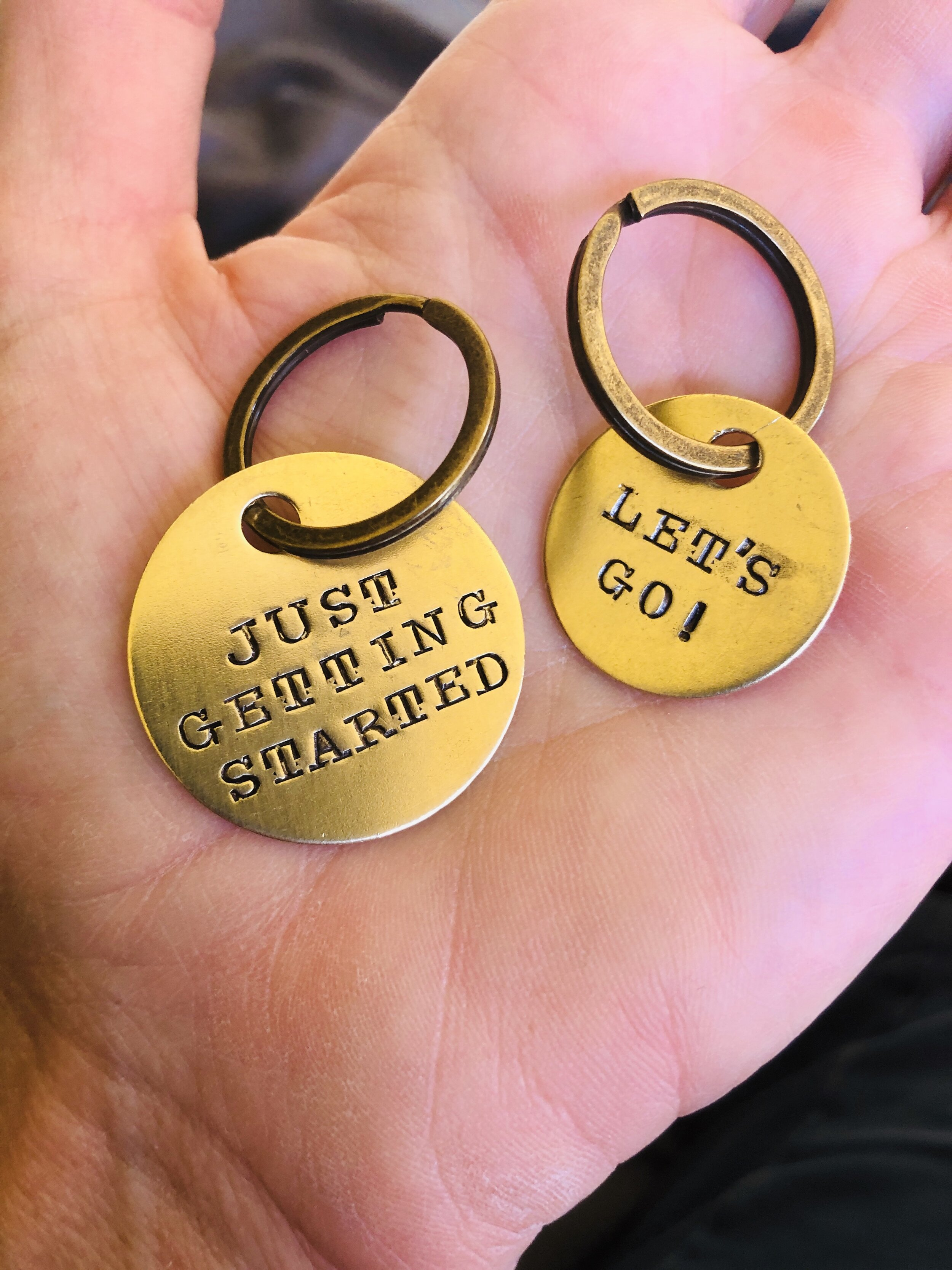"""One of the most thoughtful gifts I have ever received, engraved key chains of my """"life"""" hashtags from my friend, athlete, and teammate, Laurel."""