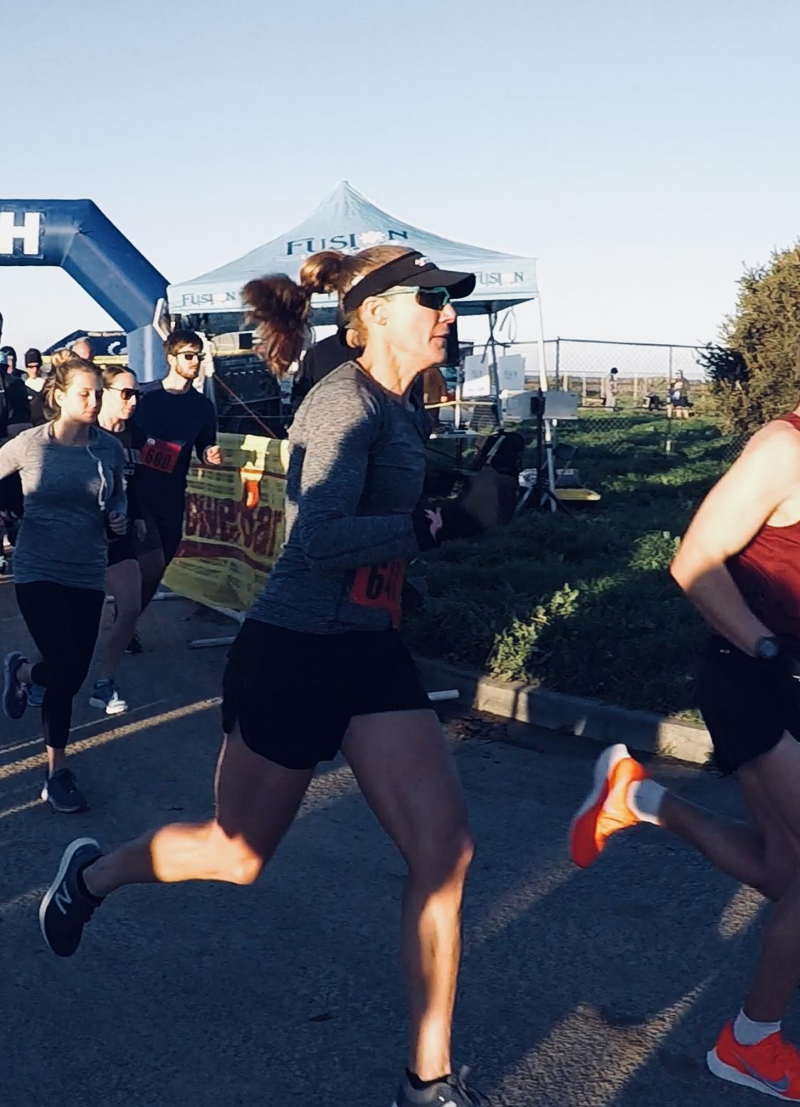 The start of the Seaside half marathon, February, 2019.