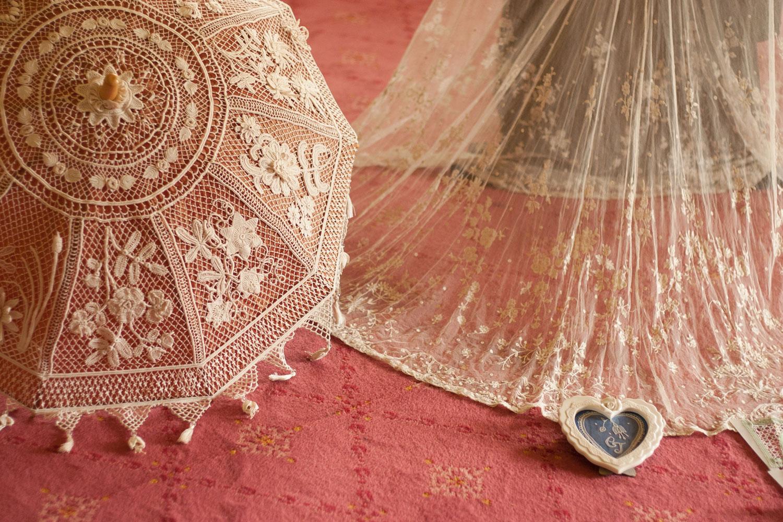 Modern Irish Crochet Parasol and Brussel's Lace Wedding Veil