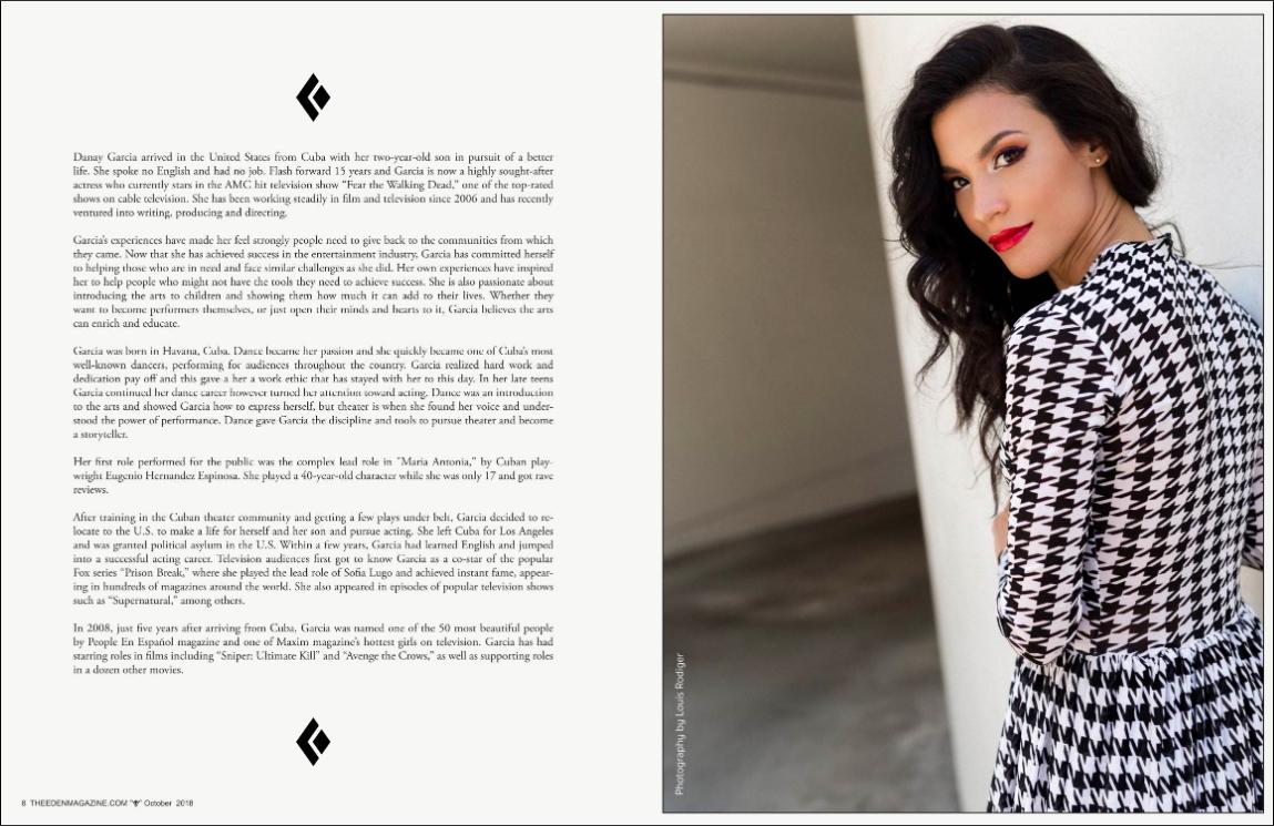 The Eden Magazine October 2018: Hair for Actress Danay Garcia