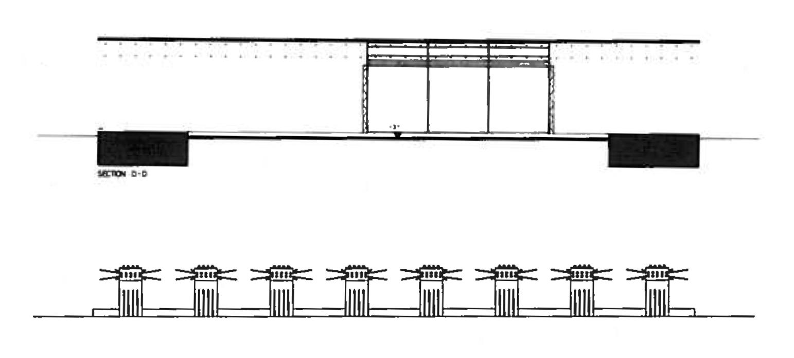 Wachsmann, Konrad. City Hall, California City, Cross-Sections. 1966. Konrad Wachsmann Archiv, Akademie der Kunst, Berlin.