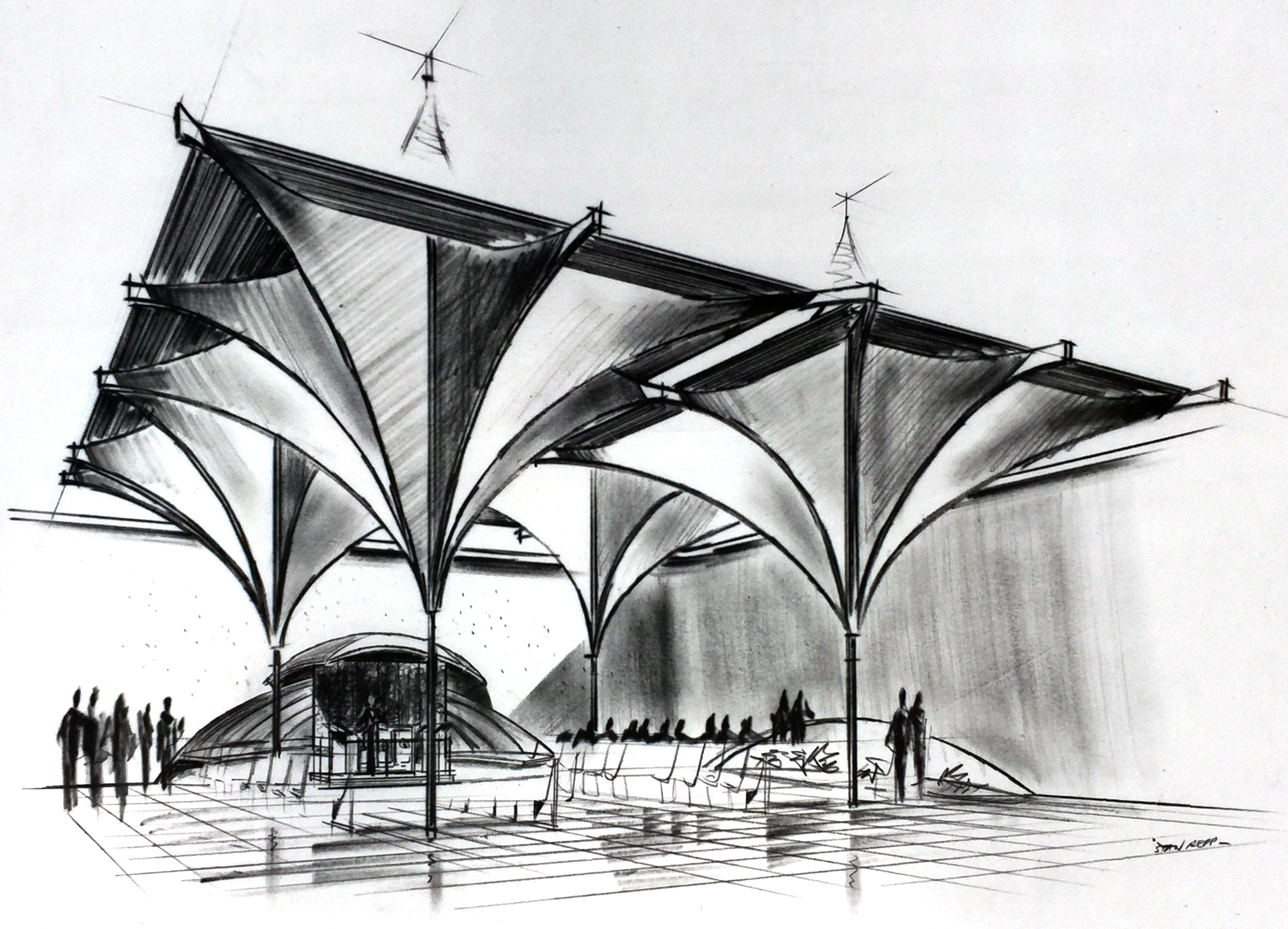 Smith and Williams, Architects and Engineers. Congregational Church, California City. 1961.Architecture and Design Collection, University Art Museum, UCSB.