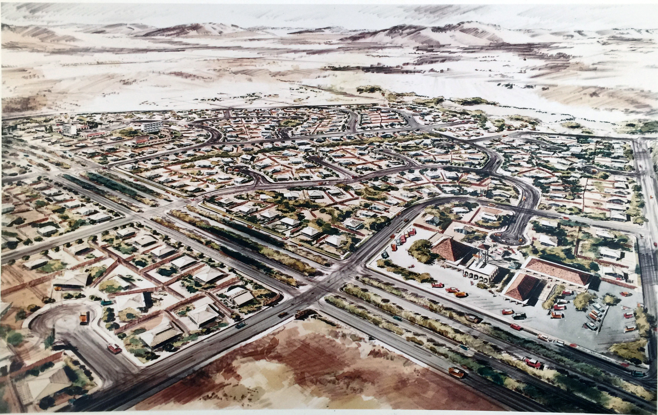 Smith and Williams, Architects and Engineers. Subdivision with Shopping Center, California City Master Plan. 196?. Architecture and Design Collection, University Art Museum, UCSB.