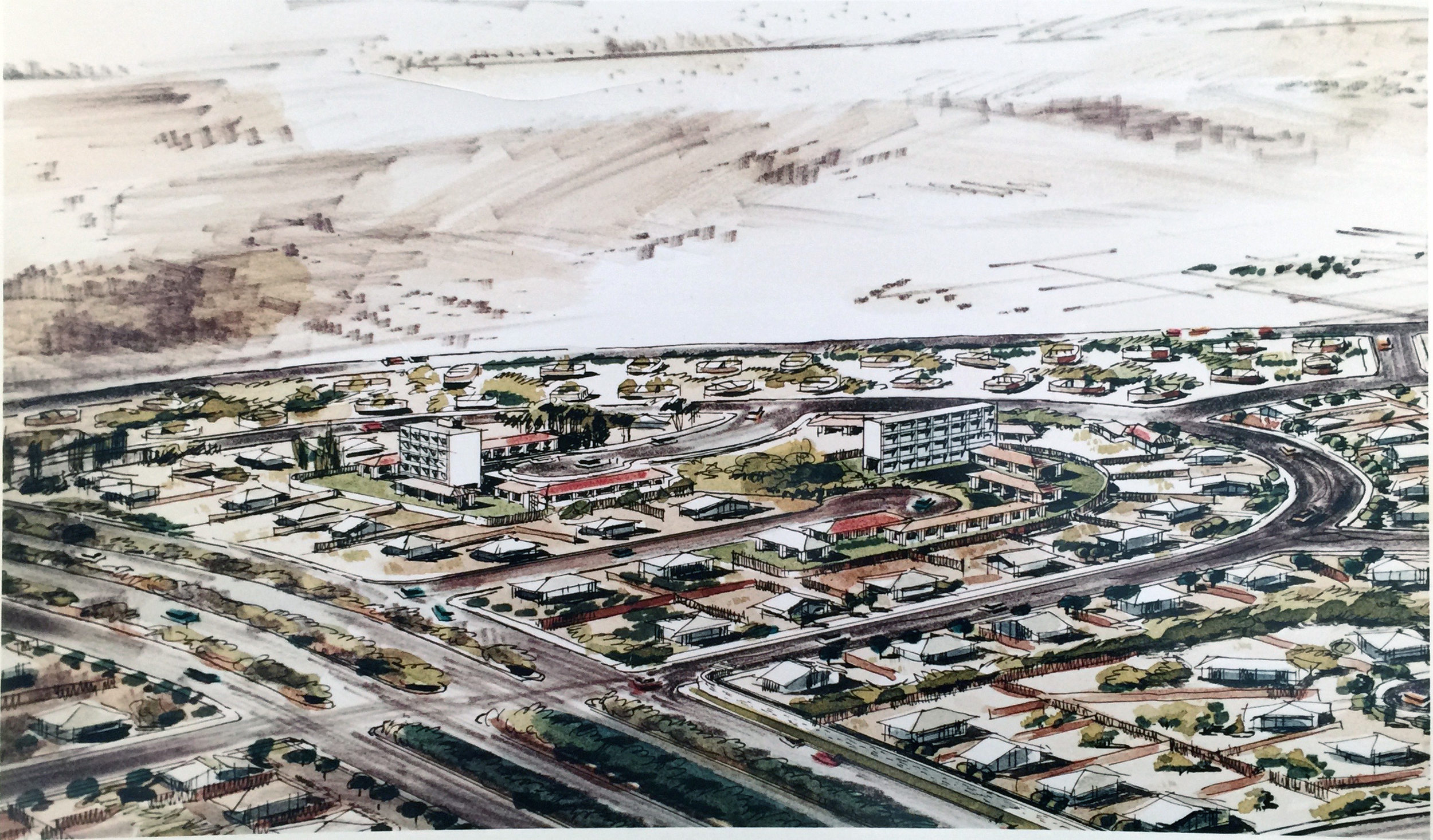 Smith and Williams, Architects and Engineers. Detail of a Subdivision, California City Master Plan. 196?. Architecture and Design Collection, University Art Museum, UCSB.