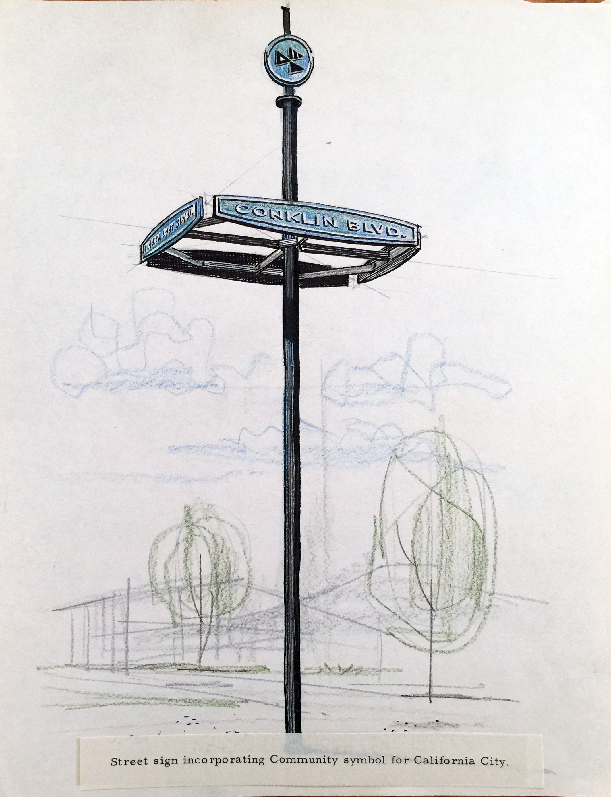 Smith and Williams, Architects and Engineers. Street Sign, California City. 196?. Architecture and Design Collection, University Art Museum, UCSB.