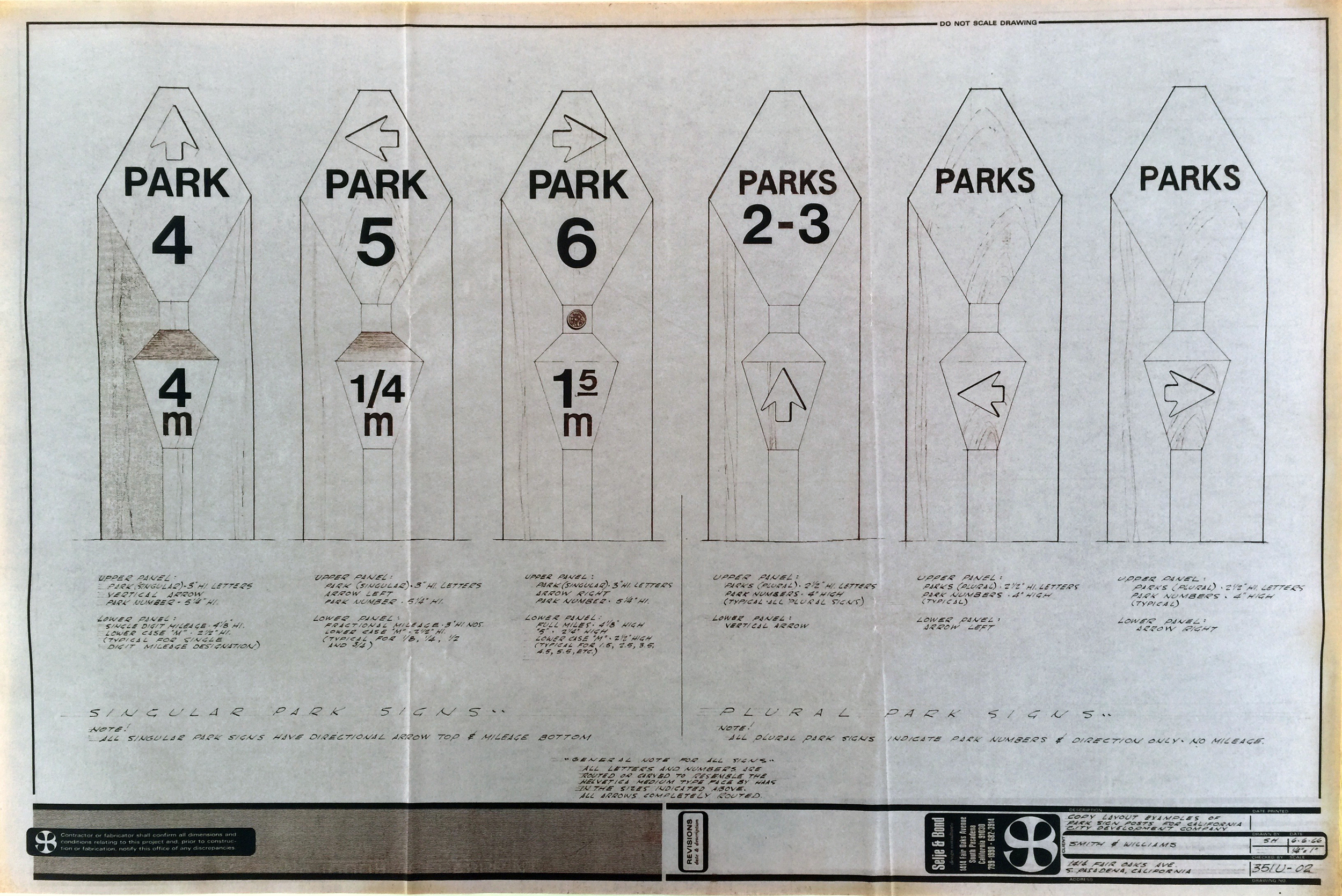 Smith and Williams, Architects and Engineers. Park Sign Posts, California City. 1966. Architecture and Design Collection, University Art Museum, UCSB.