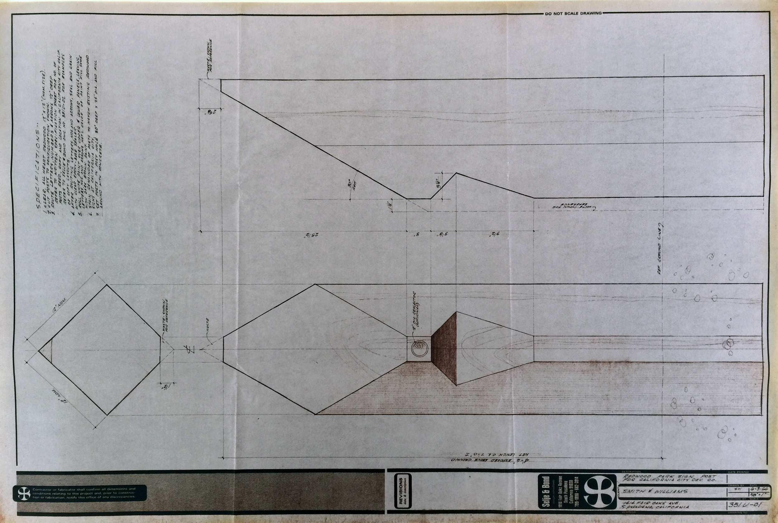 Smith and Williams, Architects and Engineers. Park Sign Post, California City. 1966. Architecture and Design Collection, University Art Museum, UCSB.