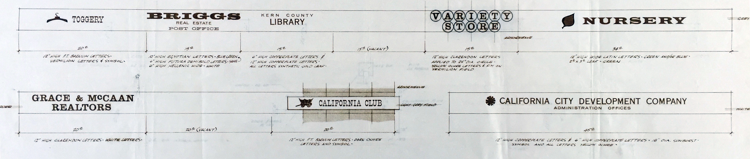 Smith and Williams, Architects and Engineers. Marquee - Sign Layouts, California City. 1961. Architecture and Design Collection, University Art Museum, UCSB.