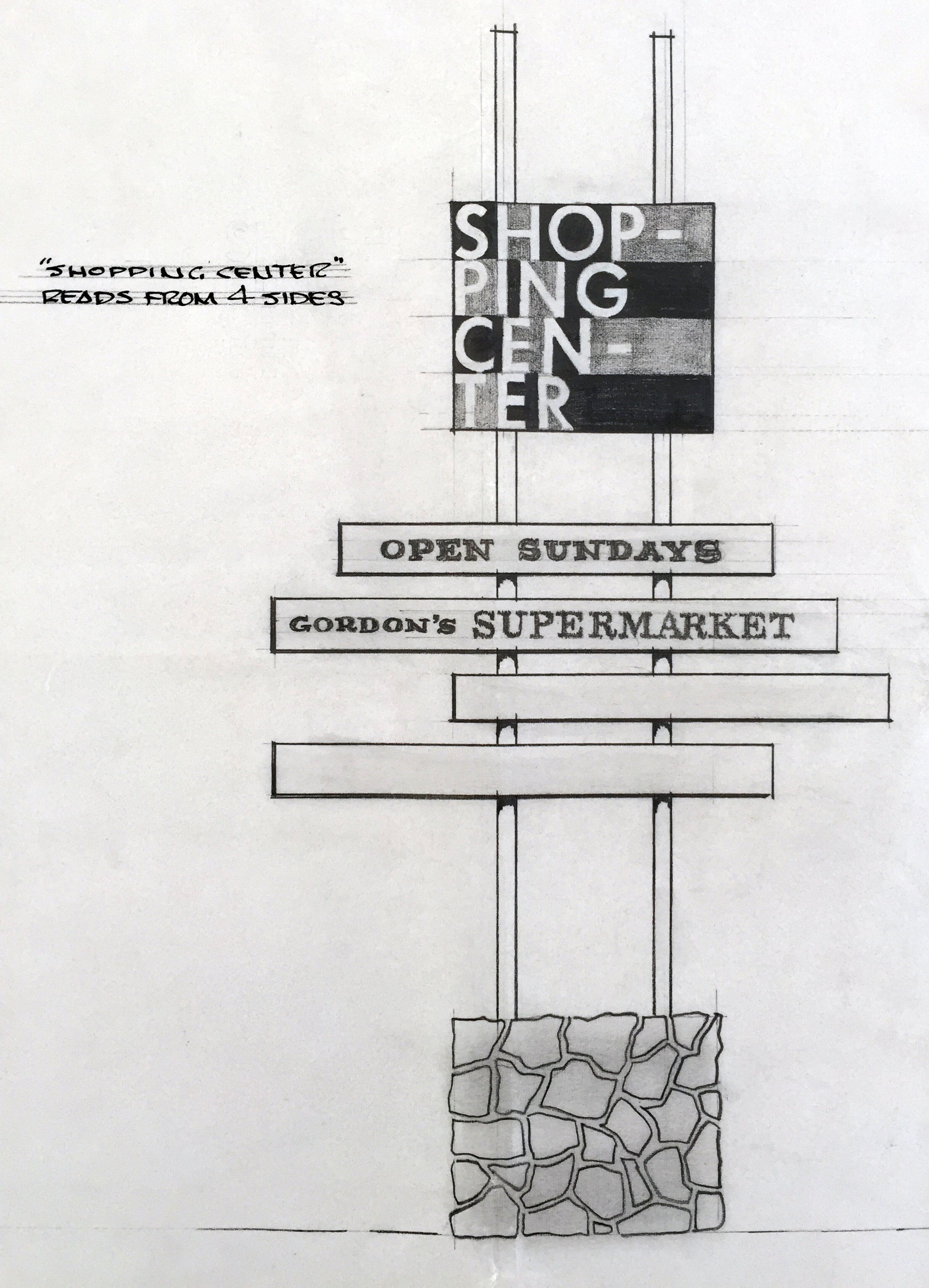 Smith and Williams, Architects and Engineers. Shopping Center Sign, California City. 1966. Architecture and Design Collection, University Art Museum, UCSB.