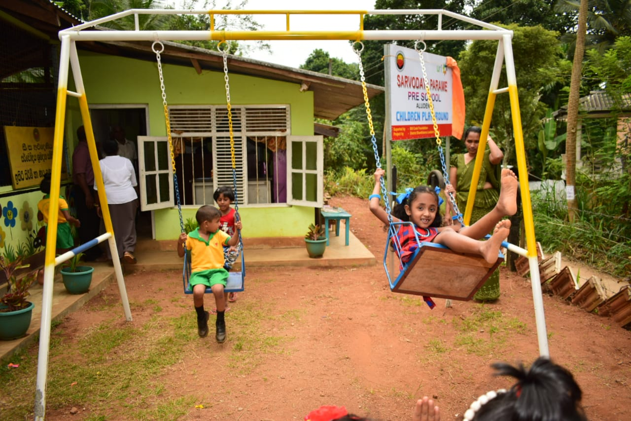 This photo was taken at the opening of one of our first two pre-schools in rural Sri Lanka.  We have just committed to building three more.