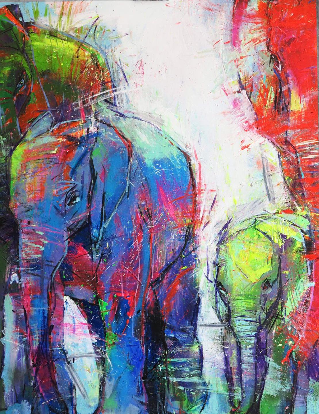"Elephants - 57"" x 45"""