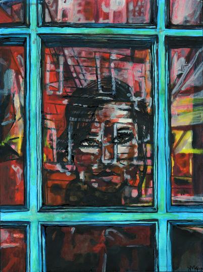 "Girl Through The Glass 9"" x 12"""