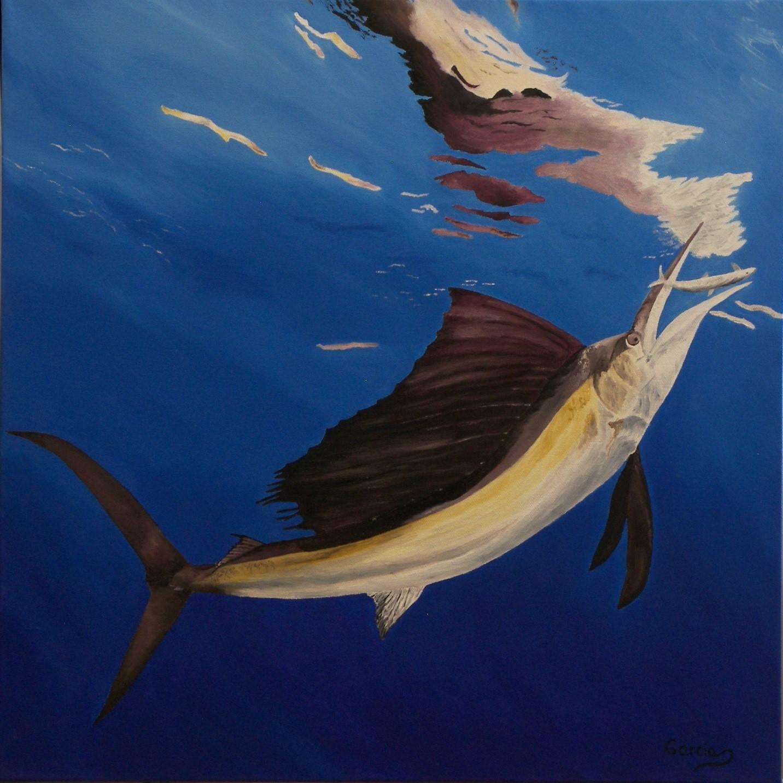 """Sailfish Hunting 20"""" x 20"""""""