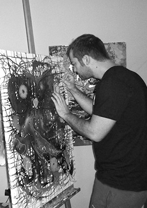 Iannis Chatzipapas  Thessaloniki, Greece  Iannis was born in Greece in 1984, he possessed an early affection for the abstract arcing toward iconic figures such as de Kooning and Pollock.