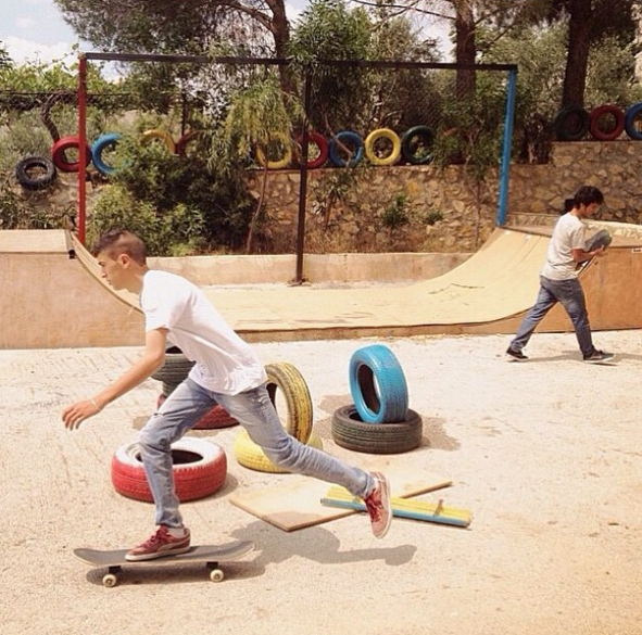 Aram & Adham at the first SkatePAL ramp in Ramallah, 2014.