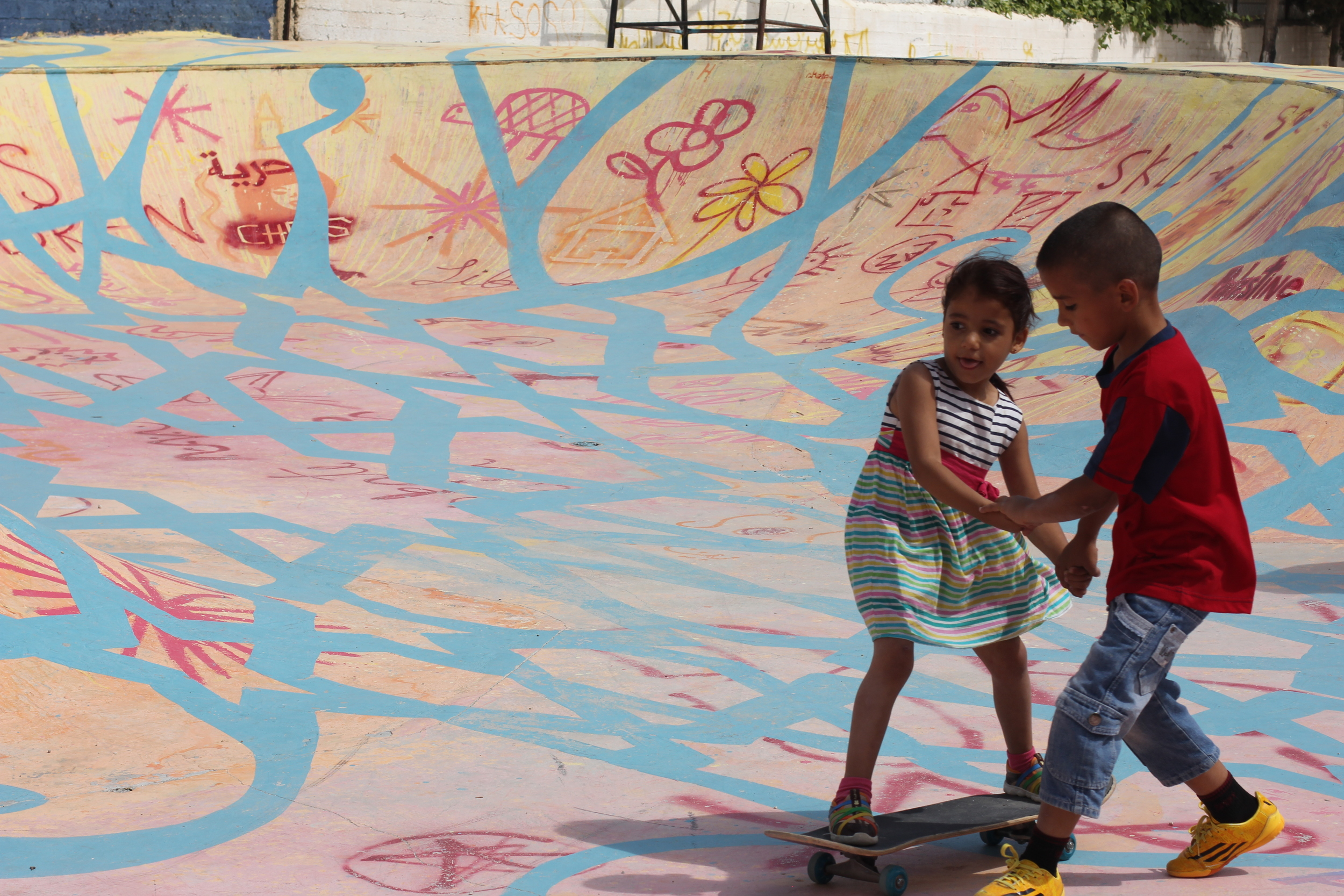 Teaching at the Skate-Aid park in Bethlehem