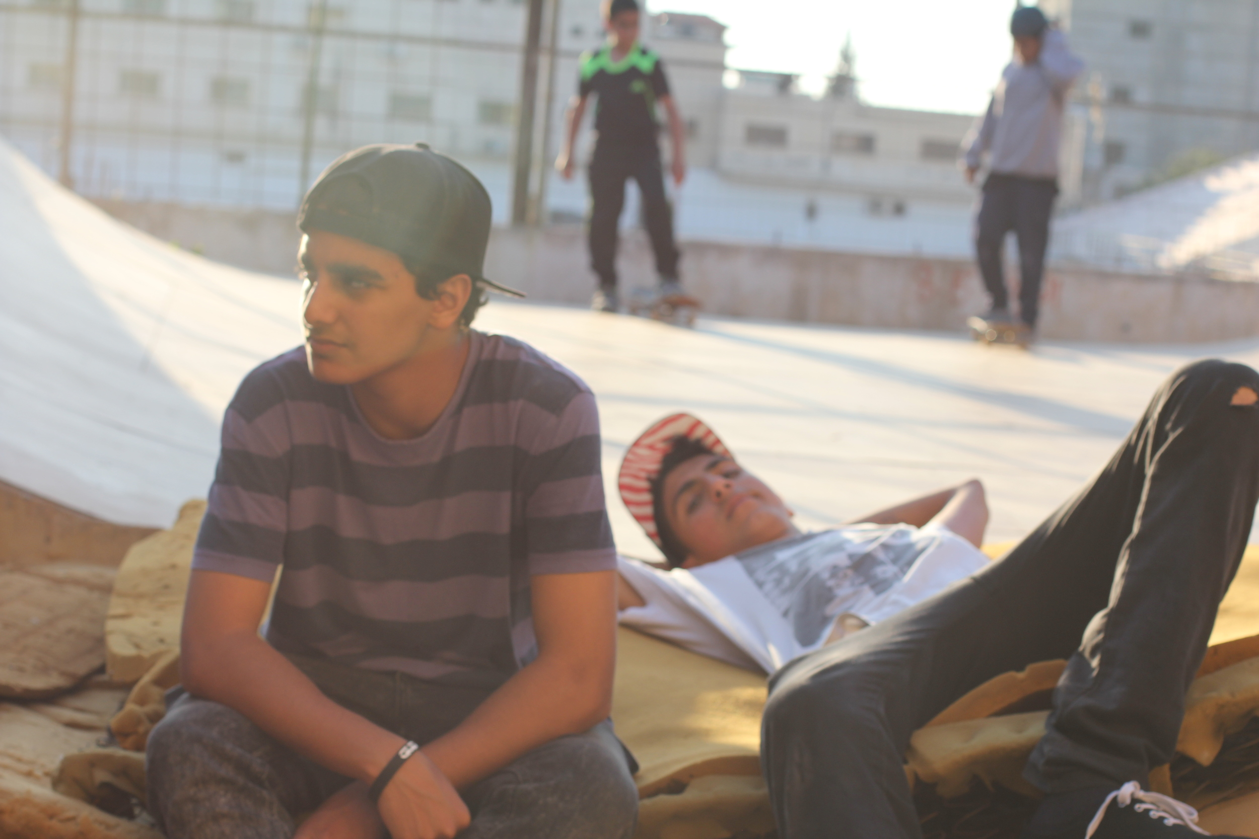 Chilling with Abdullah and Eihab at the ramp in Qalqilya.