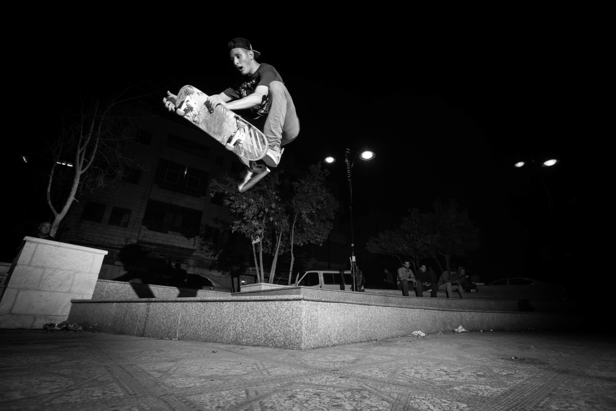 Majd takes the unconventional route at the Plaza, Ramallah. Photo: Emil Agerskov