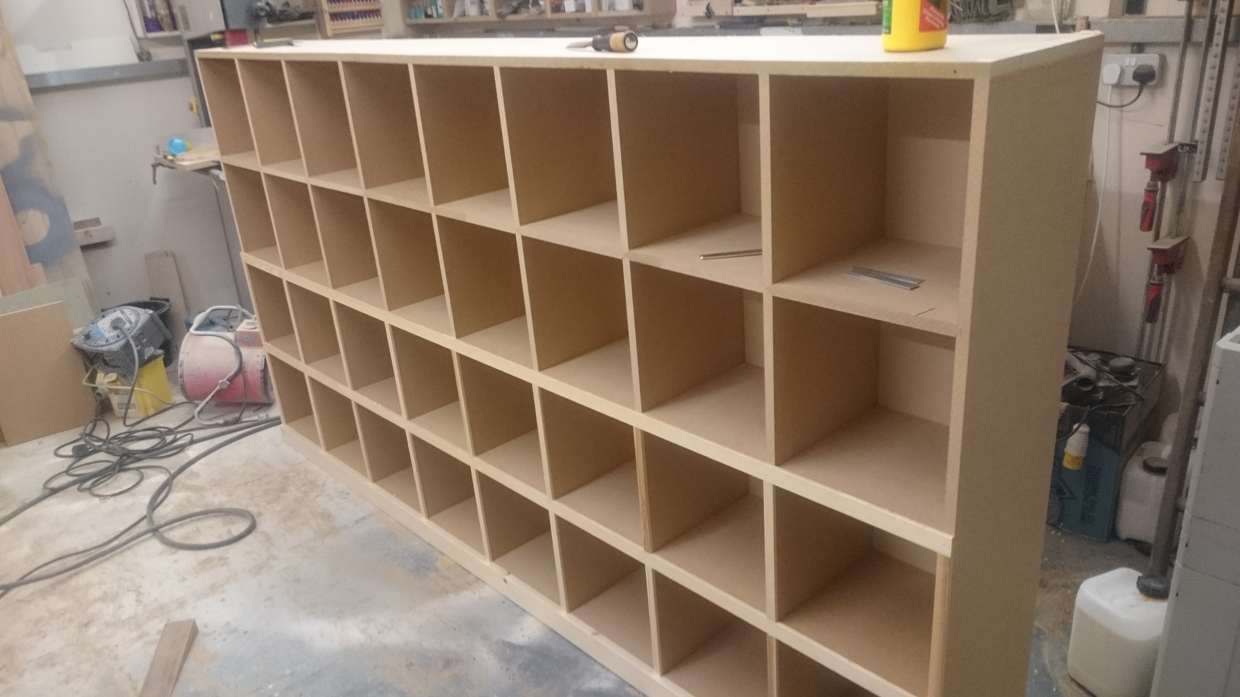 Here is one of the assembled units. You can see that I have started adding the timber trim to cover the edges of the MDF.