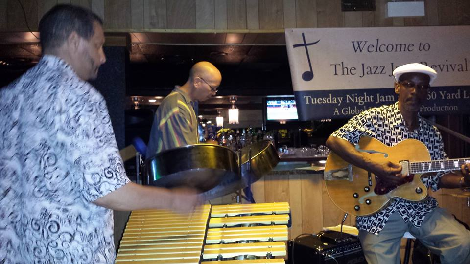 Here's Mark at the Tuesday night Jazz Jam Session at Chicago's 50 Yard Line Club on the south side. Thank you Margaret Murphy-Webb for the photo.