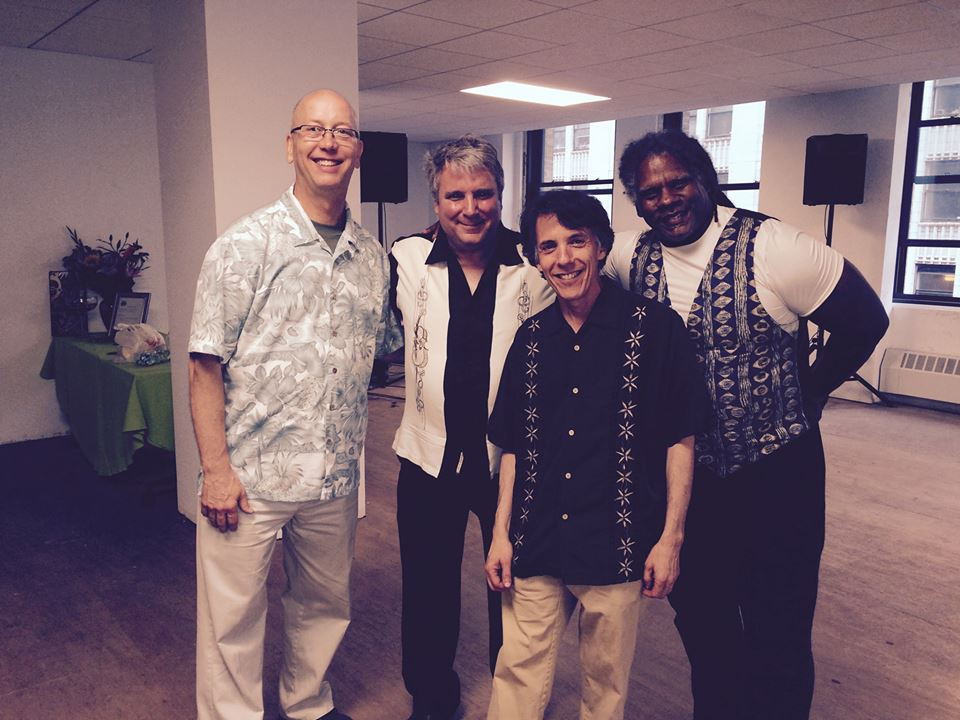 L to R: Mark, with Jim Cornolo  (guitar) , Stu Greenspan  (bass) , and Angel de Cuba  (conga's, percussion and vocals). Mark, Jim, and Stu, were classmates at the American Conservatory of Music.