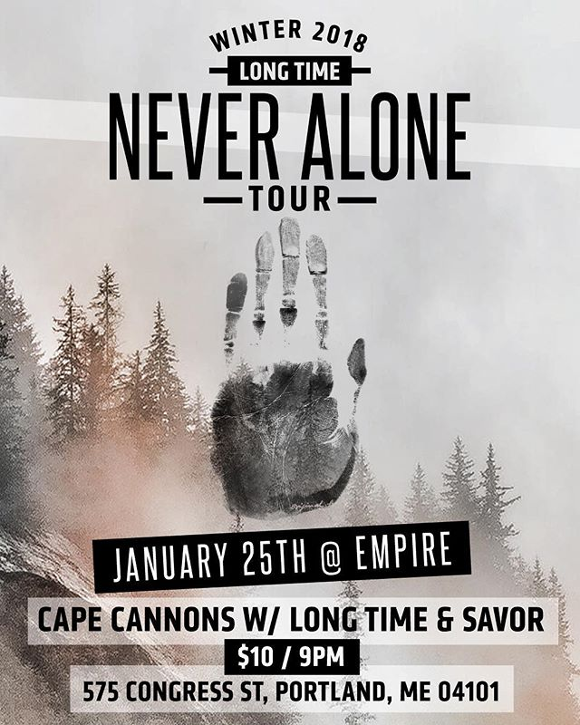 PORTLAND MAINE!! The Never Alone winter run is only 2 weeks out and we're kicking it off in one of our favorite cities to play. Grab a ticket via our website (link in bio) and let's crush through this winter together!