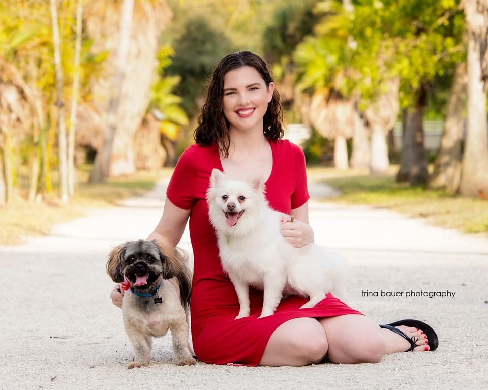 Florida.girl.red.dress.dogs