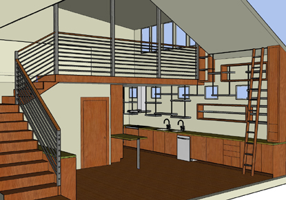 3d design image to give my clients the confidence to move forward with their design. Image shows double height dining room with catwalk above and kitchen beyond