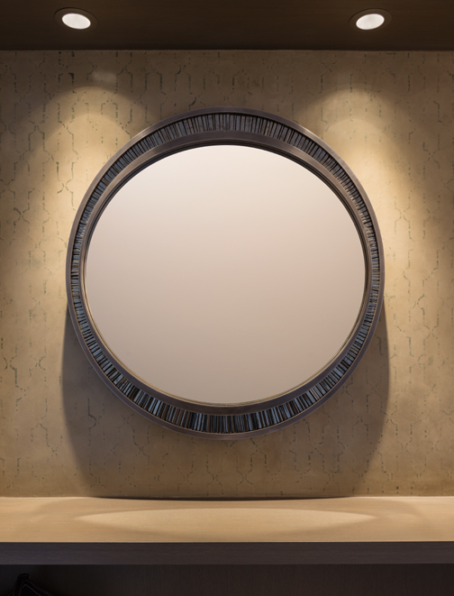 handmade mirror for Seattle residence with plaster wall, niche shelf and recessed lighting