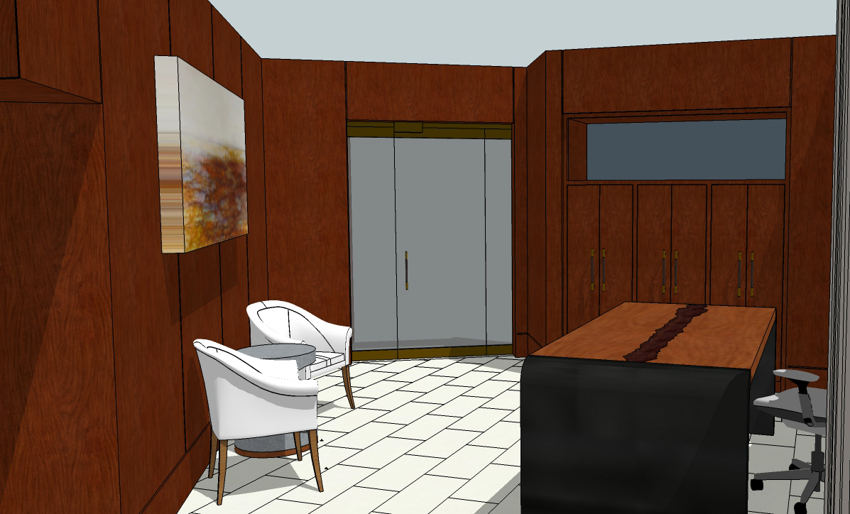 3d image of Seattle Hotel 1000 Madison Tower Lobby with white tile floor, custom maple, glass and metal table, local Seattle art, cherry built-in cabinets and leather wall panels