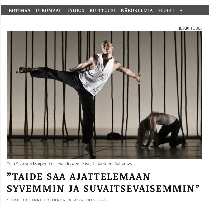 Kansan Uutiset interview after receiving the Critics Spur Award 23.4.2015