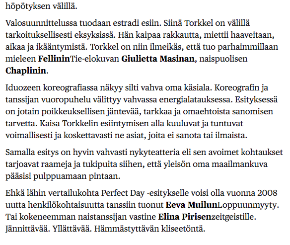 Helsingin Sanomat review on Perfect Day. 21.2.2014