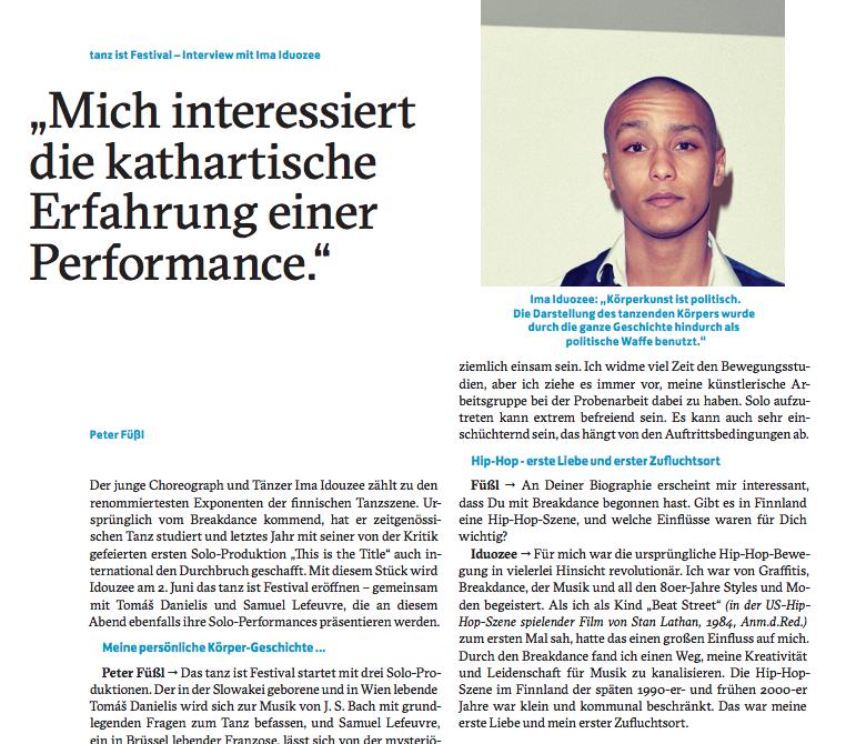 Interview with Austrian culture Magazine: Zeitschrift fur Kultur und Gesellschaft