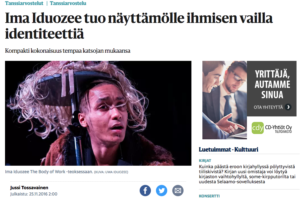 Helsingin Sanomat review on The Body Of Work 25.11.2016