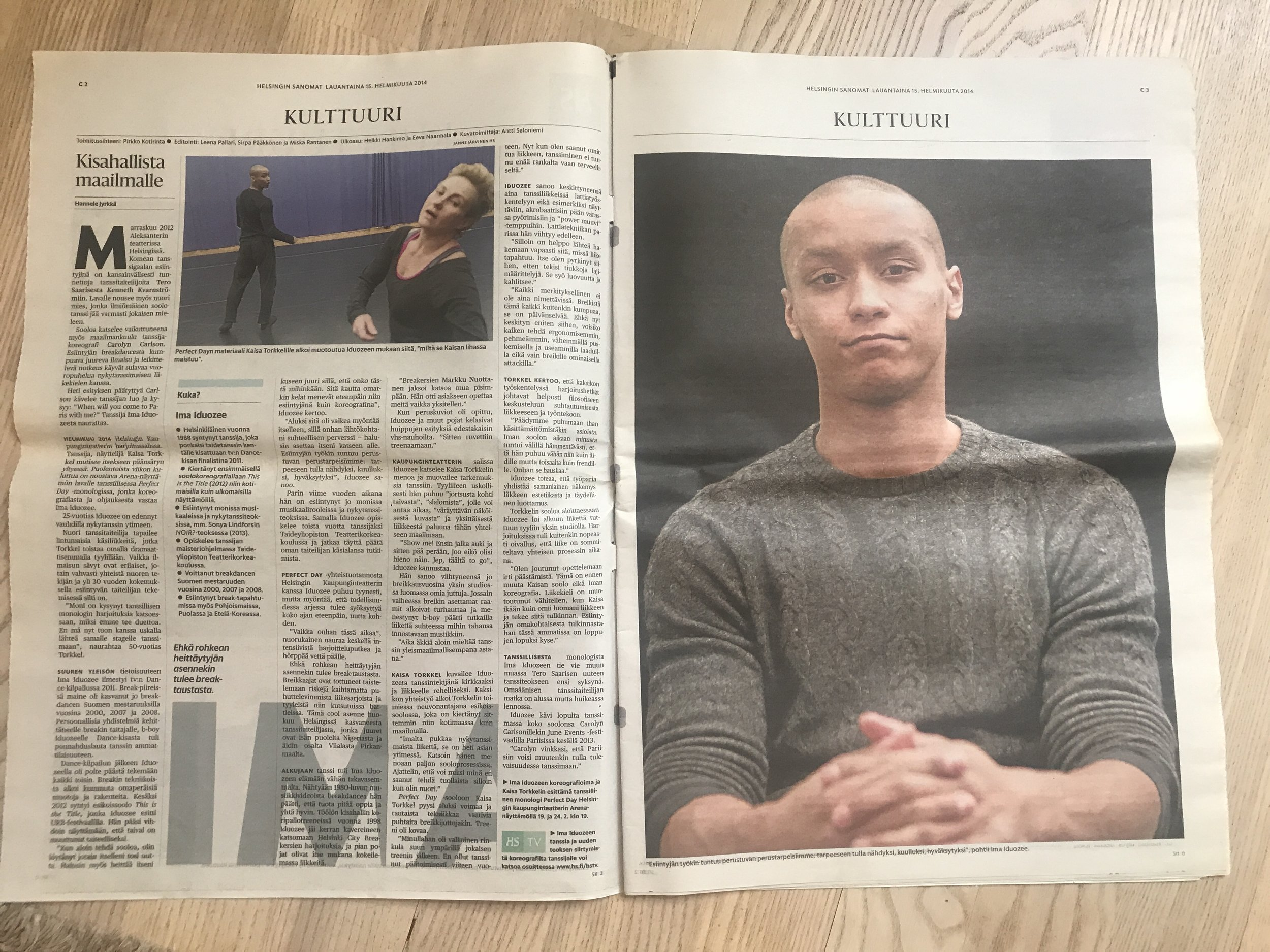 Ima Iduozee interview on Helsingin Sanomat 15.2.2014