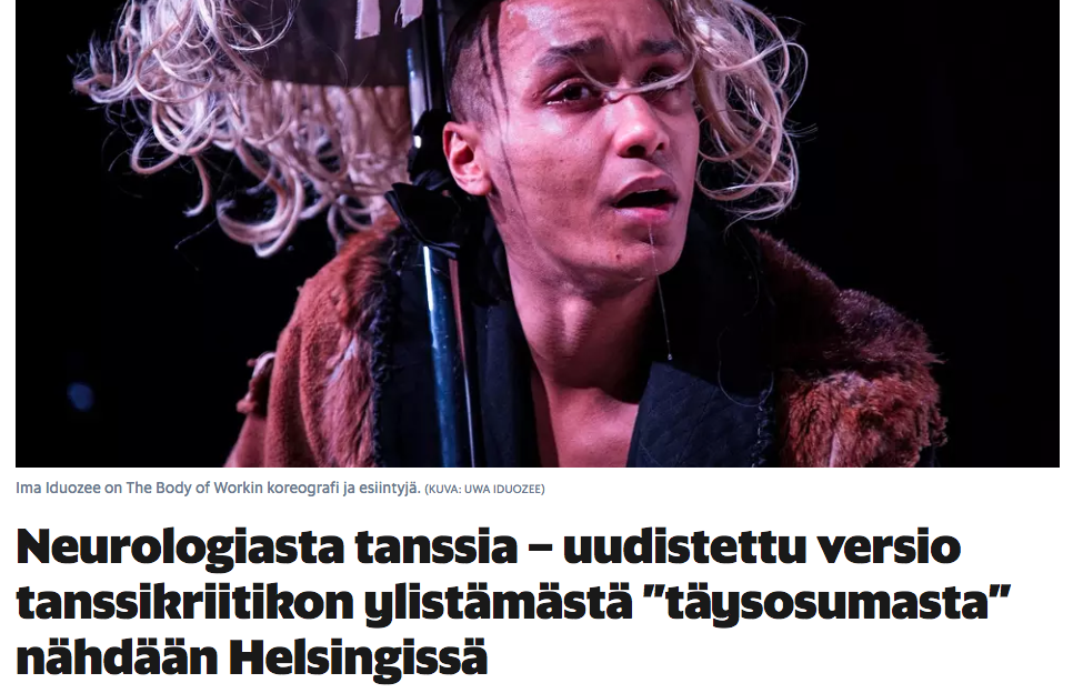 Helsingin Sanomat on The Body Of Work remake. 27.3.2018