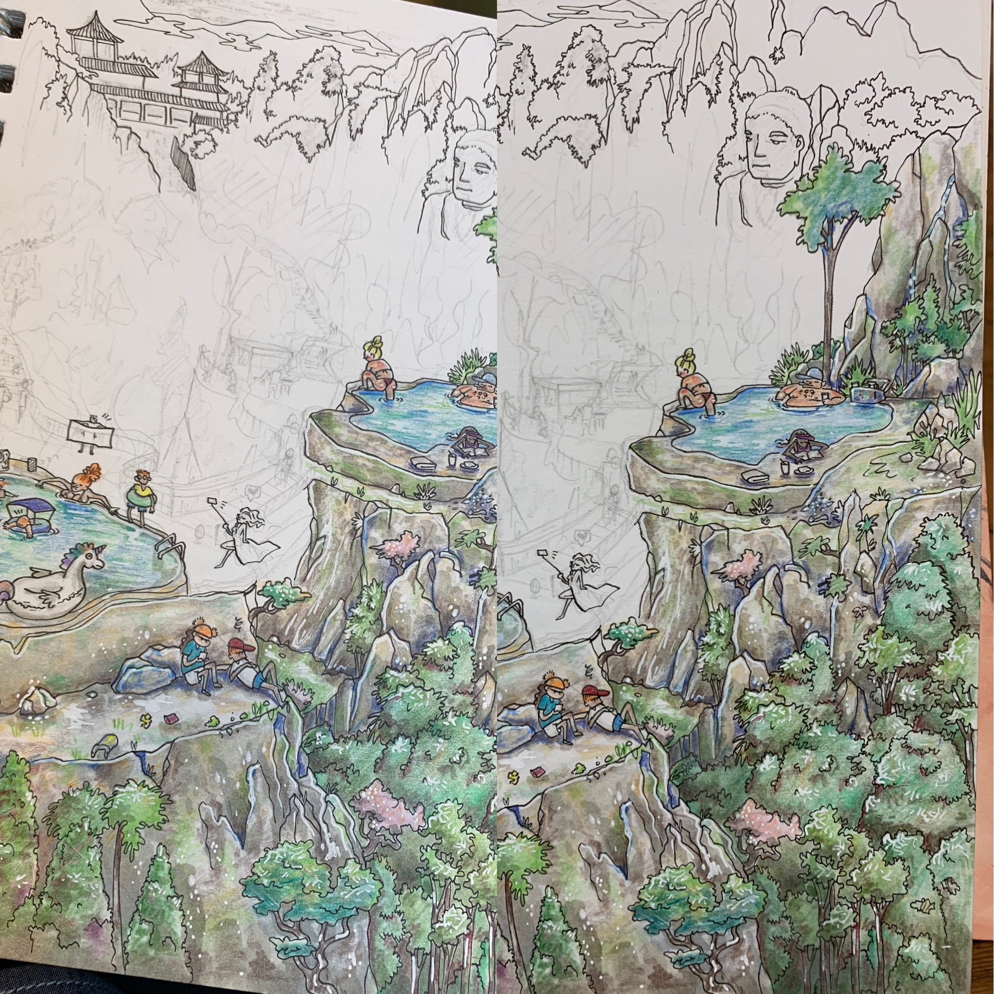 Comparison L to R: A little watercolor stroke on the side of that left cliff makes all the difference.