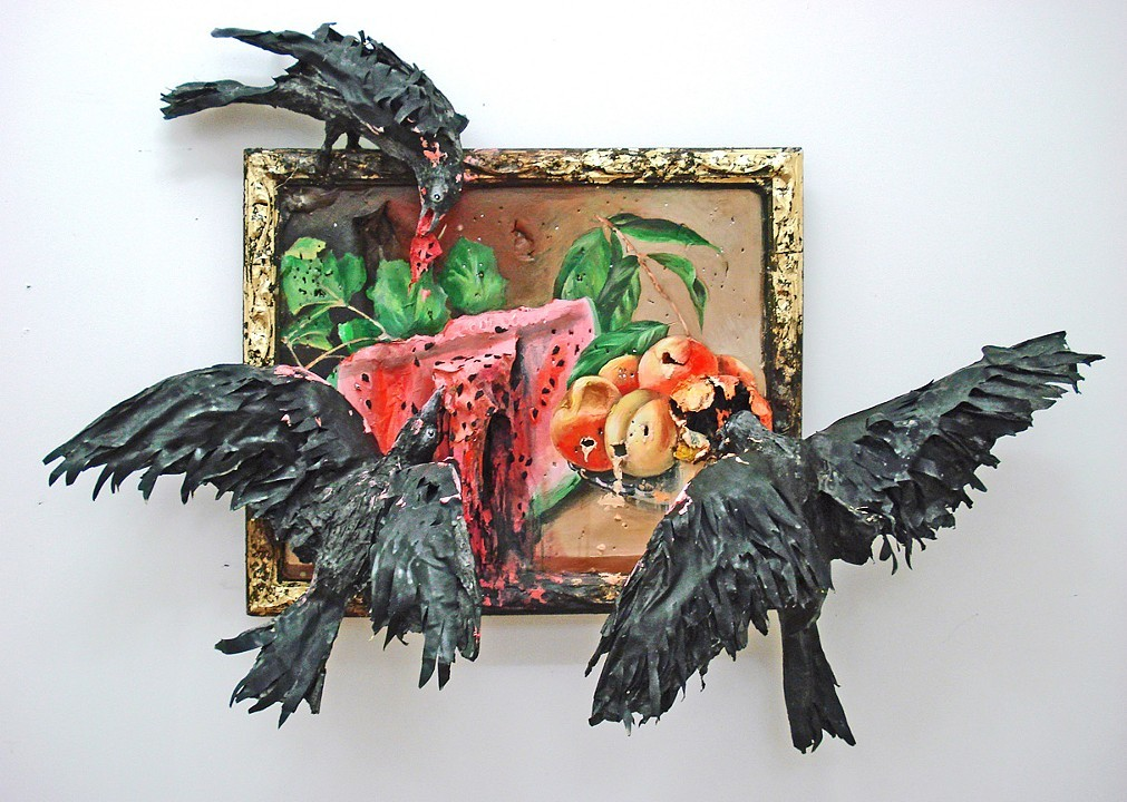 Still Life with Watermelon, Peaches and Crows 2013