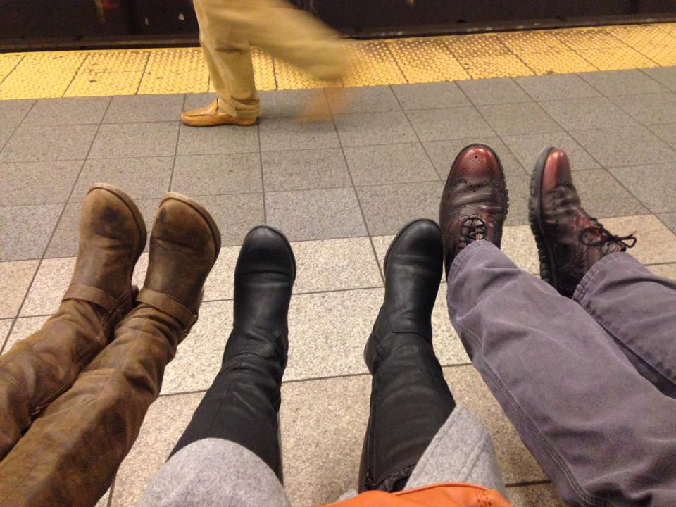 After a long day of walking around the city-our feet were dying. So we took advantage of the subway bench.