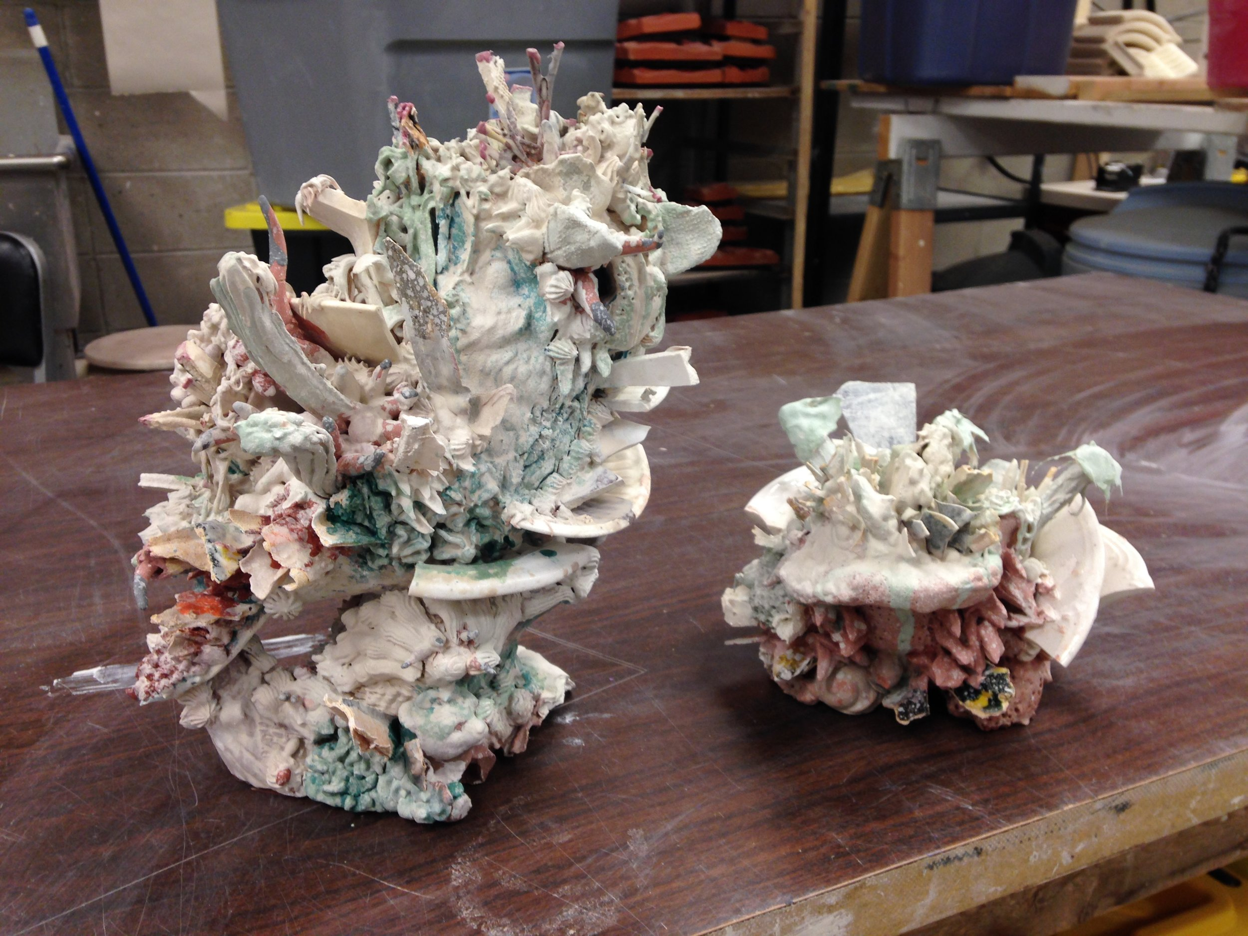 Two works in progress-glazed and ready to fire.