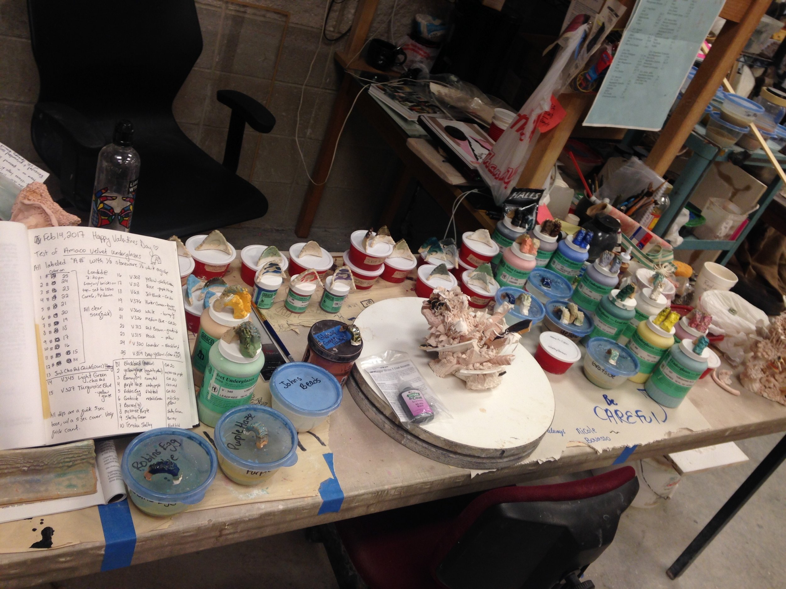 The glaze table in my studio currently.
