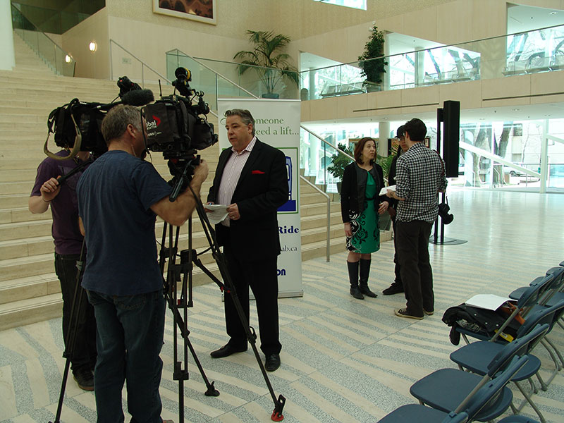 Edmonton media covering the 19th annual DONATE-A-RIDE wrap-up event.