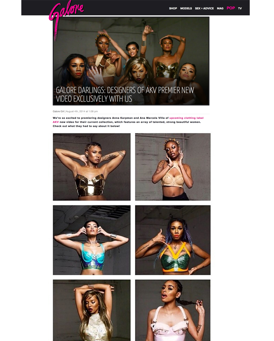 AKV CAMPAIGN VIDEO PREMIERED THROUGH GALORE MAGAZINE, AUGUST 2014