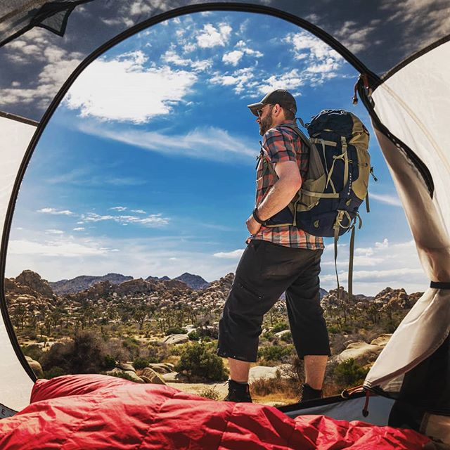 Whether in the outback or in the campgrounds you can't beat waking up to these views in Joshua Tree. This year the park had so much more greenery and variety of plant life than I had ever seen before. This also made for a lot more wildlife everywhere we hiked. #Hiking, #camping, #climbing and #adventure Jtree has it all.  #adventurephotography #travel #backpackingculture #findyourpark #joshuatree #findyourbackcountry #adventurenthusiasts #alltrails #ourwild #campinglife #campingfun #campingcollective #campingroadtrip #outdoorindustry #everyoneswilderness #outdoorshare #outdoorlife #nationalparkgeek #desertlife #getoutside #optoutside