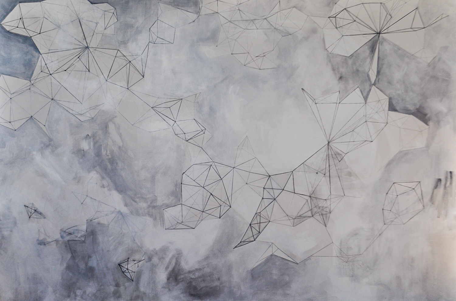 """The Future of Everything. Acrylic, ink, and charcoal on canvas. 48""""x 72"""""""