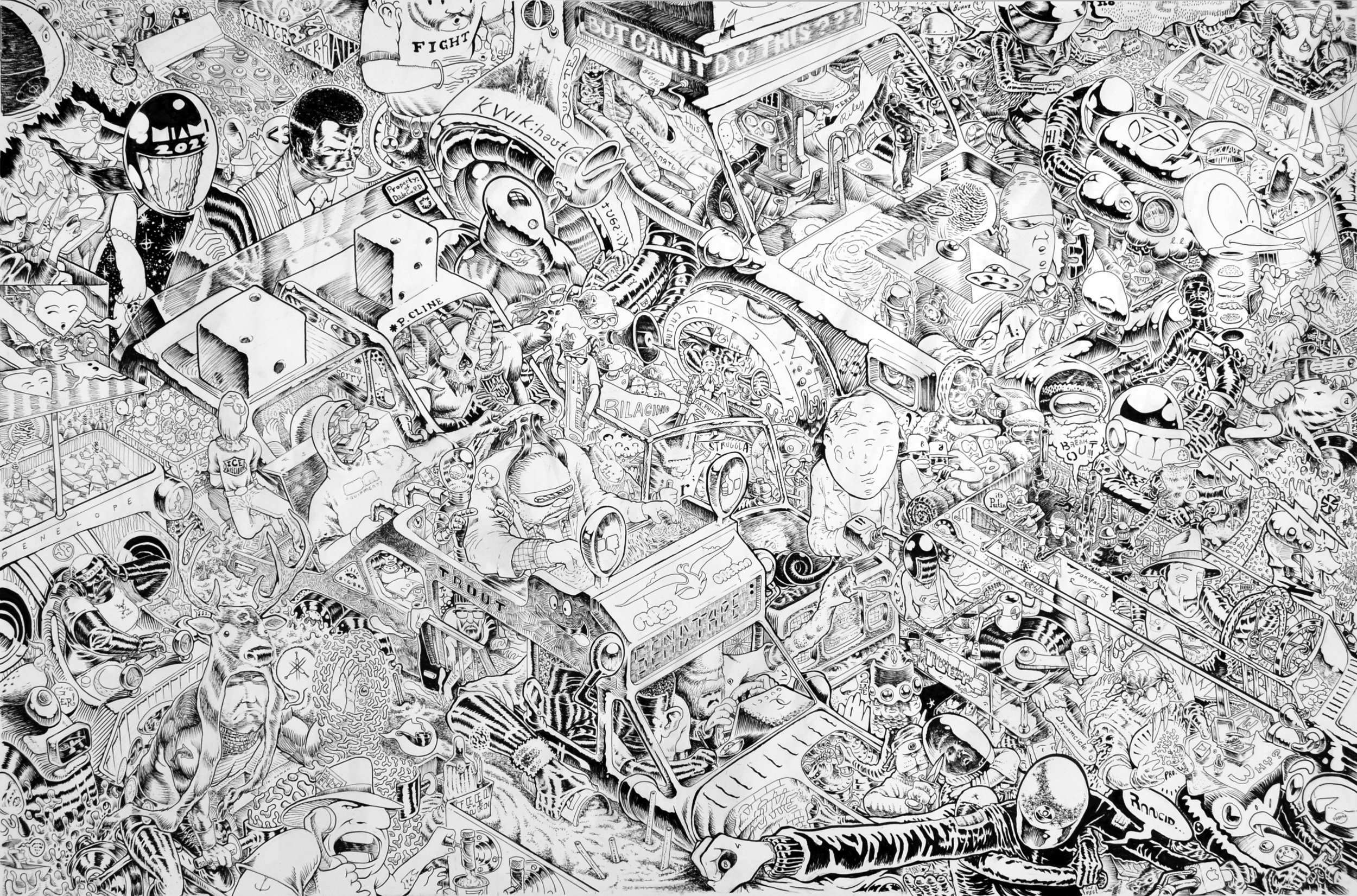 """Every Race is a Death Race   ink on paper  30 x 44 """""""