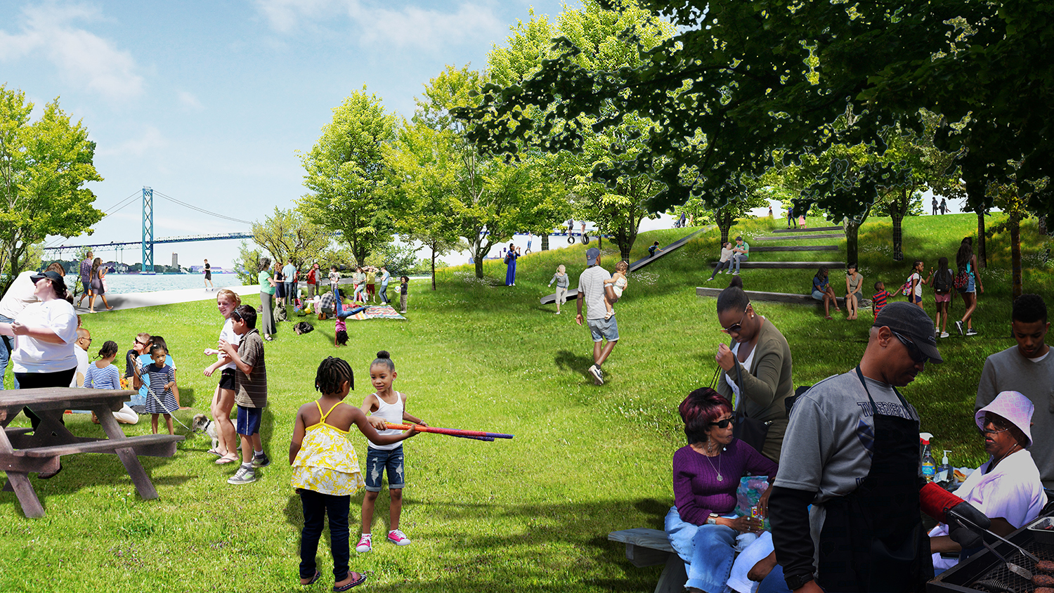 The Play and picnic terraces allow an unparalleled view of the Detroit River and Ambassador Bridge - spaces for family gatherings, children's play, and leisurely strolls.