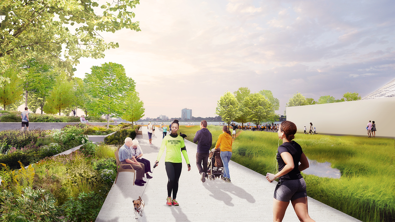 """""""May's Creek Garden"""" highlights native Michigan plants, provides a connection to the future greenway, and celebrates the historic creek that once existed near the park in a relaxing, lush environment."""