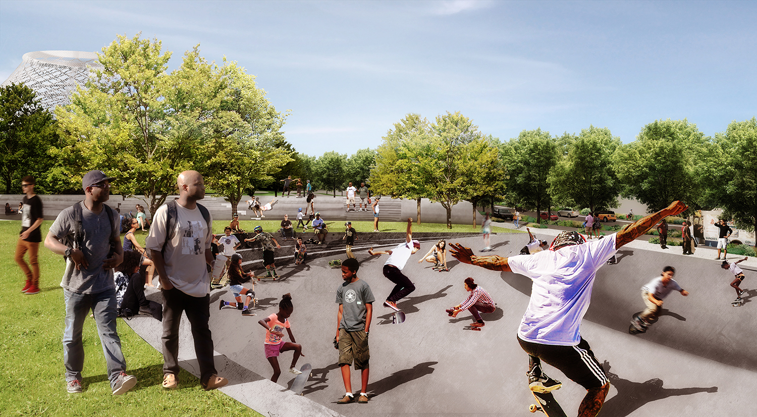 """""""Jefferson Bowl"""" is a flexible space for teen activities, quiet people watching, or a pop-up fitness class."""