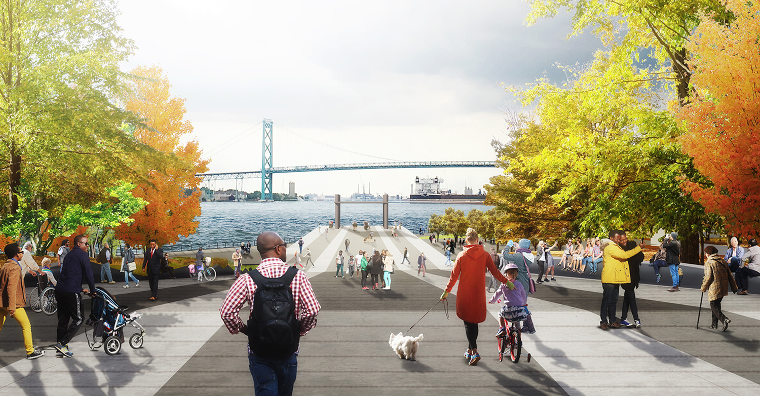 """The """"Horizon Line"""" gives park visitors a unique perspective of the river, as well as an area for dog walking, running, fishing, people watching, rollerblading, biking and kid's play."""
